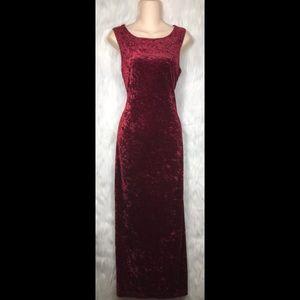 Vintage All That Jazz Red Crushed Velvet Dress